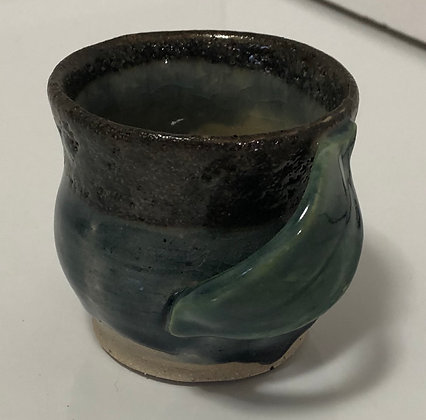 Blue water cup with leaf handle
