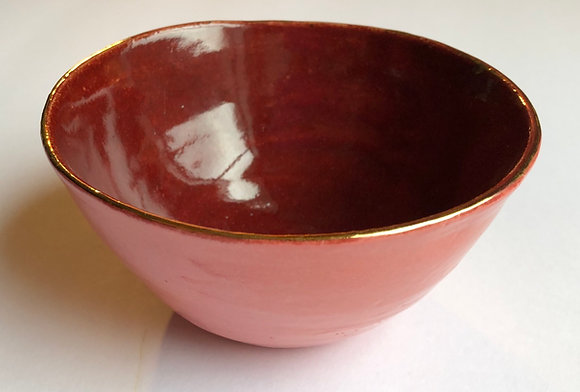Gold embellished red and pink bowl
