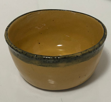 Yellow with Black Rim Snack Bowl