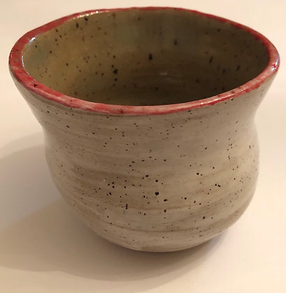 Speckled White Vase with red rim