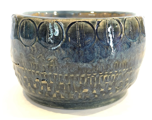 Tooled blue snack bowl