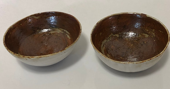 Brown and White Snack Bowl Set