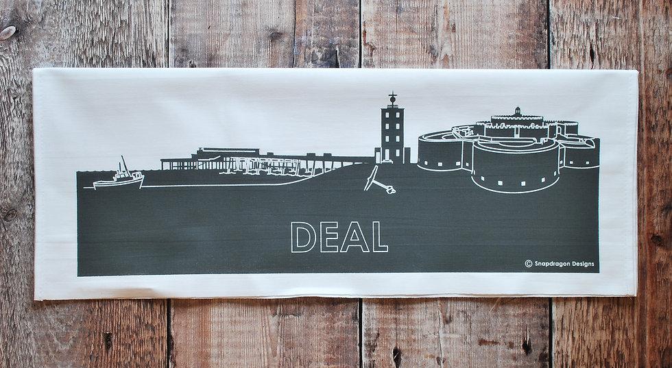 Deal grey hand printed tea towel snapdragon designs