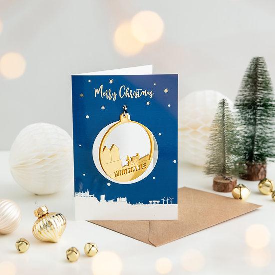 Whitstable Skyline & Bauble Christmas Card