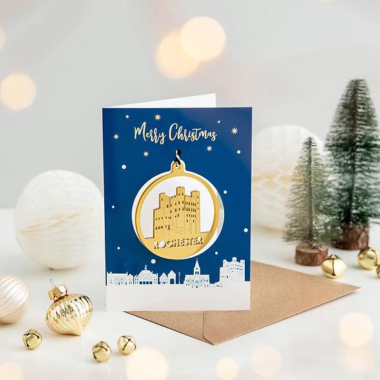 Rochester Skyline & Bauble Christmas Card