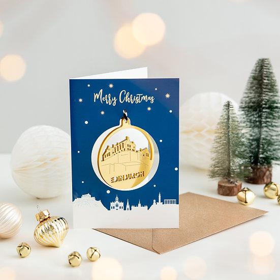 Edinburgh Skyline & Bauble Christmas Card