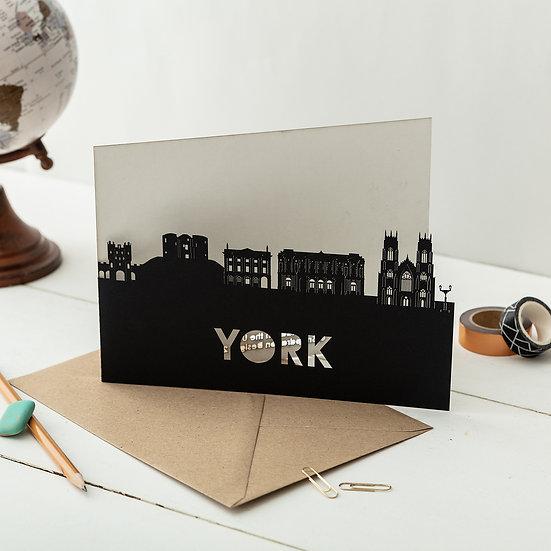 York A5 Lasercut Greeting Card