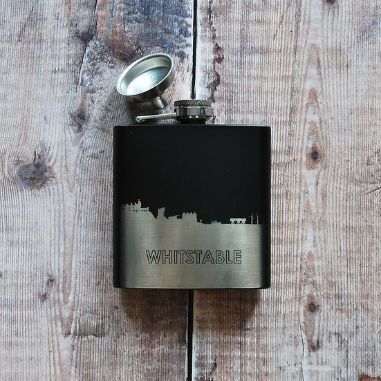 Whitstable black and silver hip flask snapdragon designs