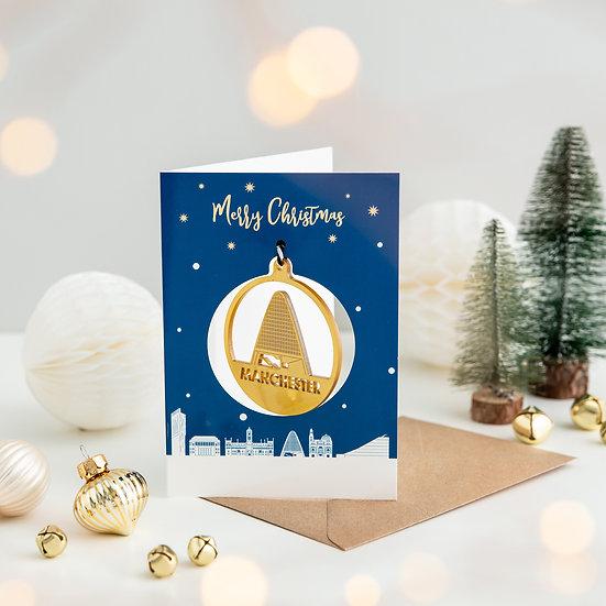 Manchester Skyline & Bauble Christmas Card