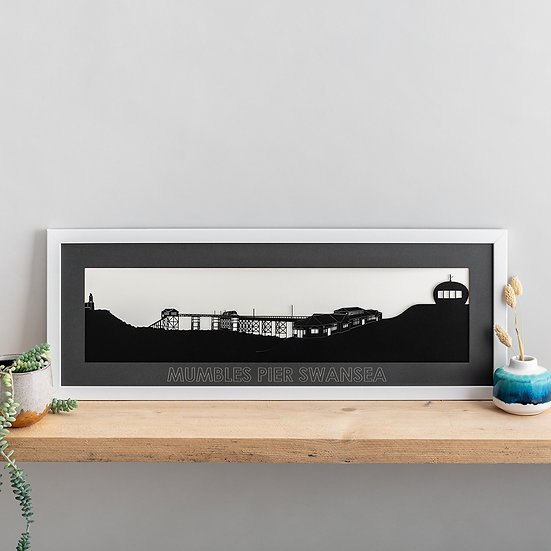 Swansea, Mumbles Pier Skyline Papercut Print