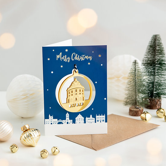 Oxford Skyline & Bauble Christmas Card