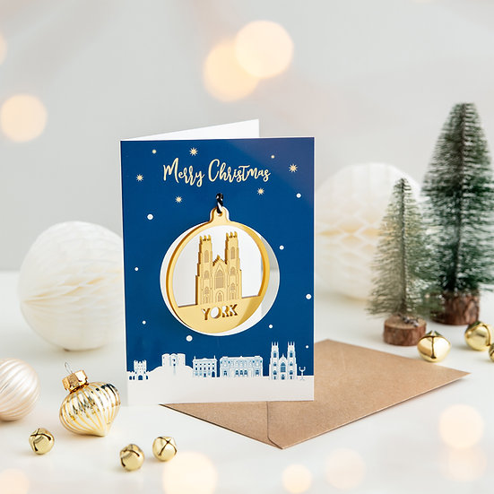 York Skyline & Bauble Christmas Card