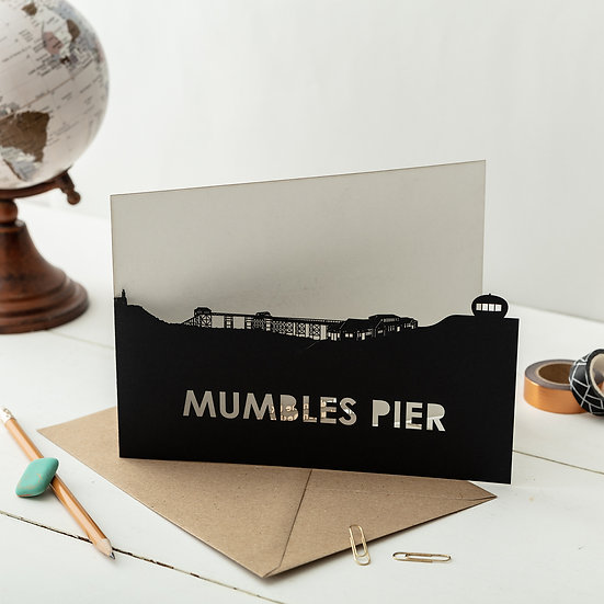 Mumbles Pier, Swansea A5 Lasercut Greetings Card