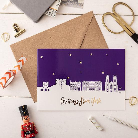 York Night A5 Greetings Card