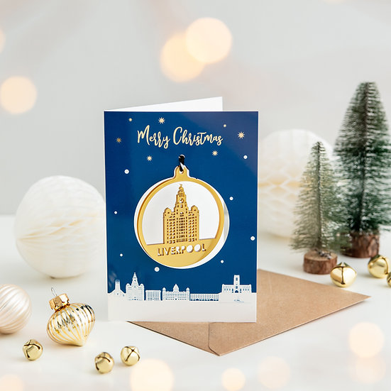Liverpool Skyline & Bauble Christmas Card