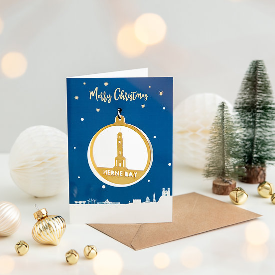 Herne Bay Skyline & Bauble Christmas Card
