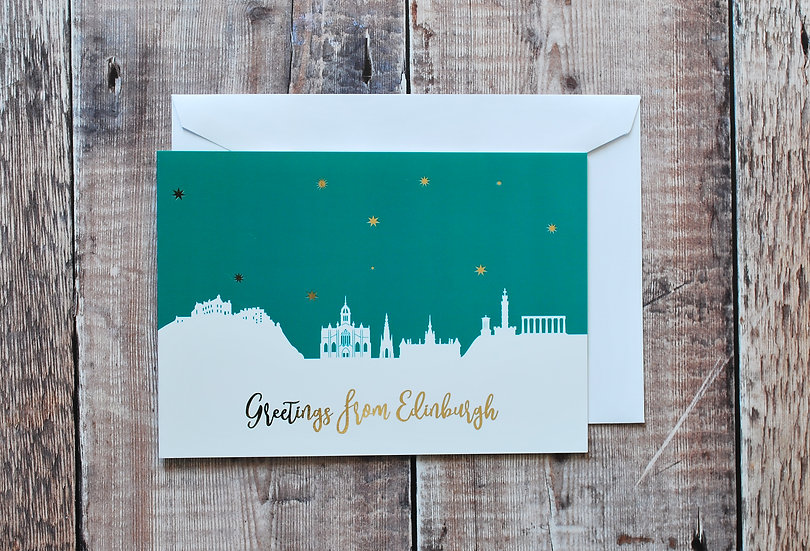 Green, white and gold Edinburgh night card Snapdragon Designs