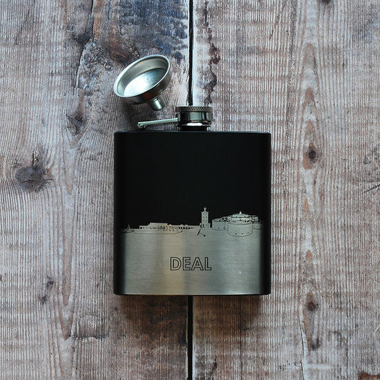 Deal black and silver hip flask snapdragon designs