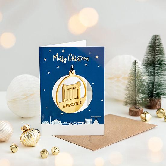 Newcastle Skyline & Bauble Christmas Card
