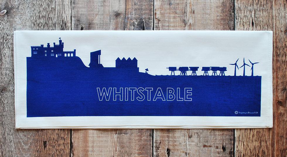 Whitstable dark blue hand printed tea towel snapdragon designs