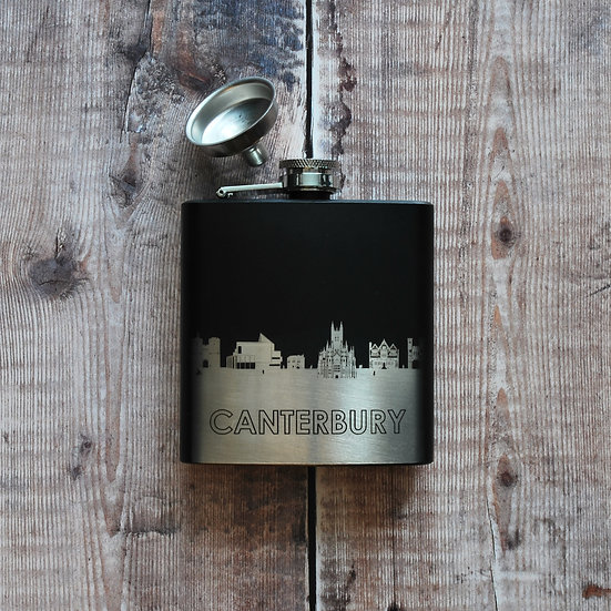 Canterbury black and silver hip flask snapdragon designs
