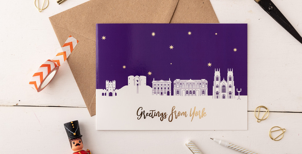 York Skyline Greetings card with gold foil - Snapdragon Designs