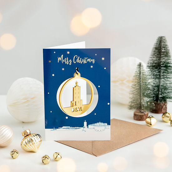 Deal Skyline & Bauble Christmas Card