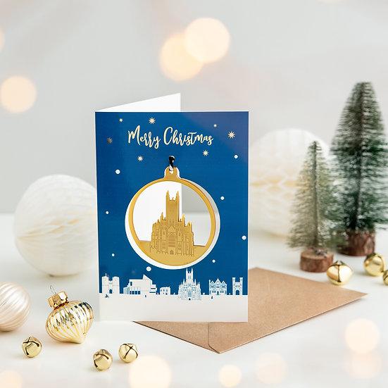 Canterbury Skyline & Bauble Christmas Card