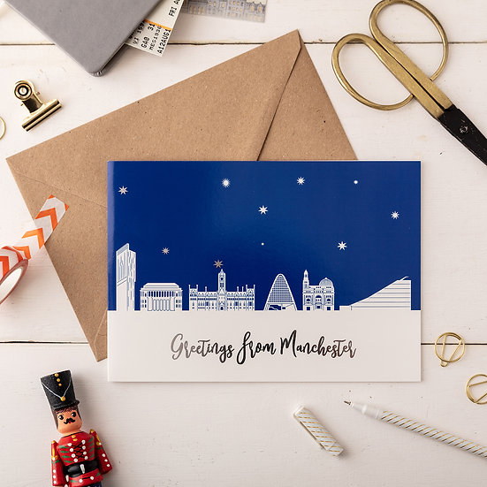 Manchester Night A5 Greetings Card