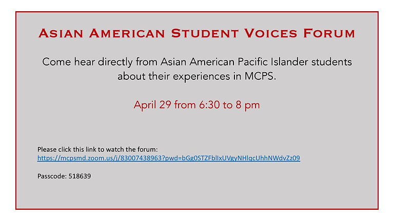 MCPS Asian American Student Voices Forum
