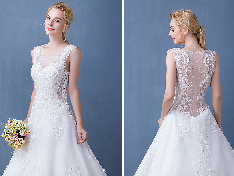 V neck see through lace with beaded ball gown