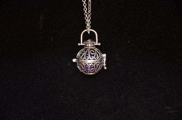 Aromatherapy Filigree Globe Necklace - Antique