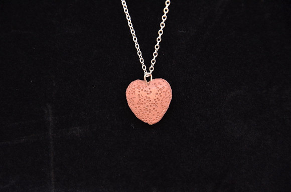 Aromatherapy Lava Heart Necklace - Coral