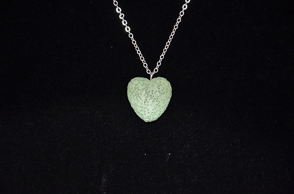 Aromatherapy Lava Heart Necklace - Green
