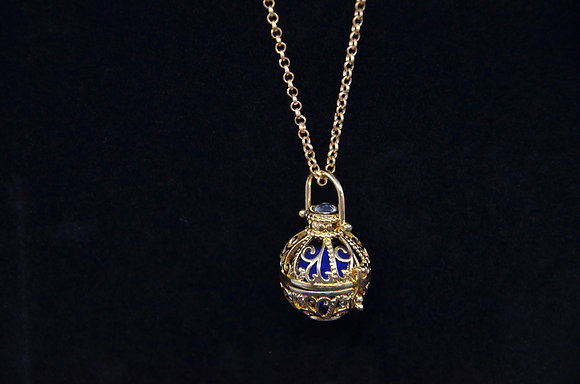 Aromatherapy Filigree Globe Necklace - Gold
