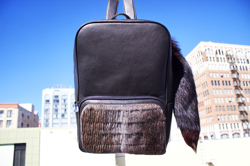 "Black ""Fox chase rabbit"" Leather"