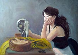 Портрет девушки за швейной машинкой
