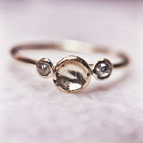 COLETTE - Unique recycled gold and rose cut diamond engagement ring