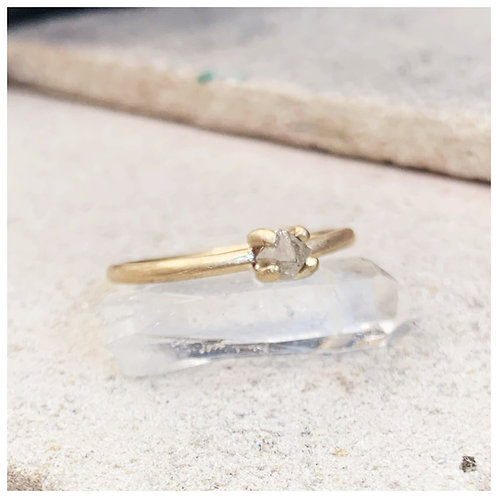 Raw diamond and recycled 9ct gold engagement ring