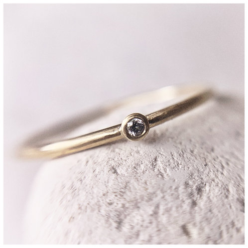 Dainty Brilliant cut Diamond and recycled gold Ring