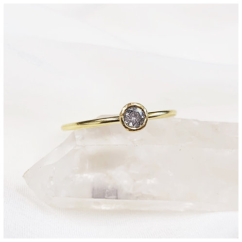FRANCIS - 18ct Recycled gold cup set Salt and Pepper brilliant cut diamond ring.