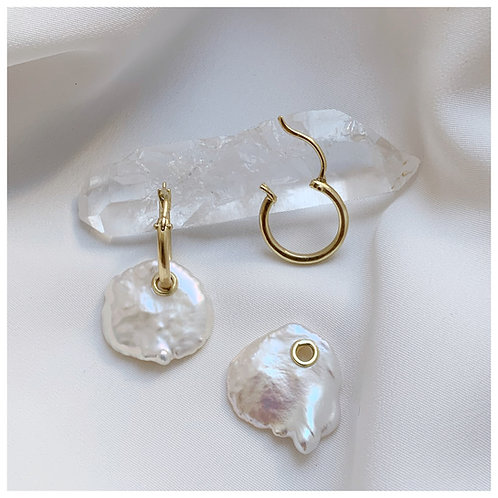 Pearl drop 18ct Gold hoops handmade to order in recycled gold, ancient design br