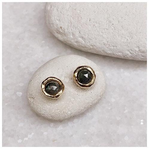 Diamond studs earrings, grey diamonds, rose cut diamond studs