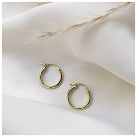 18ct Recycled gold hoops by ethical jewe