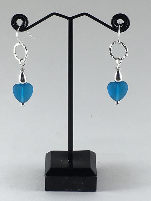 Open Circle with Cobalt Blue Sea Glass Heart