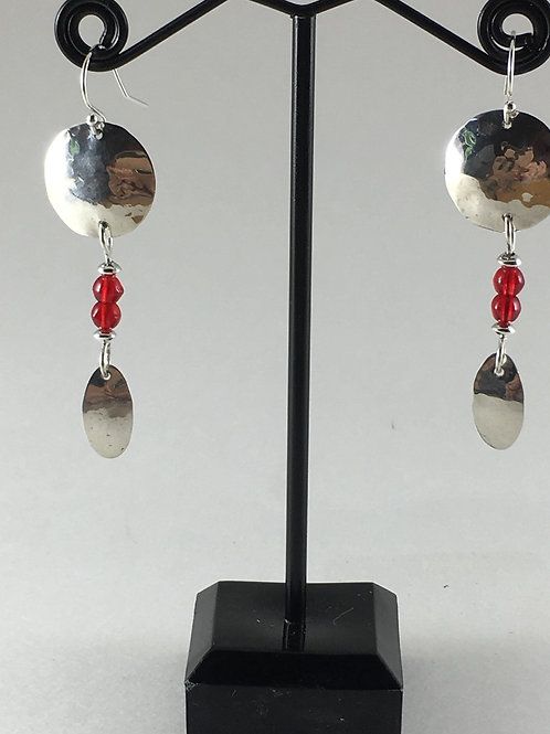 Hammered Red Glass Beads