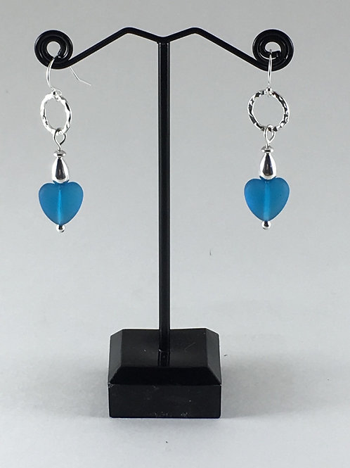 Sea Glass Heart Earrings