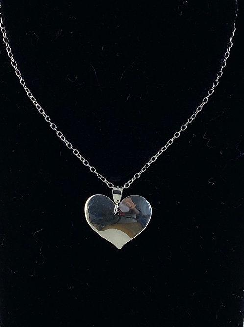 Lg heart sterling pendant