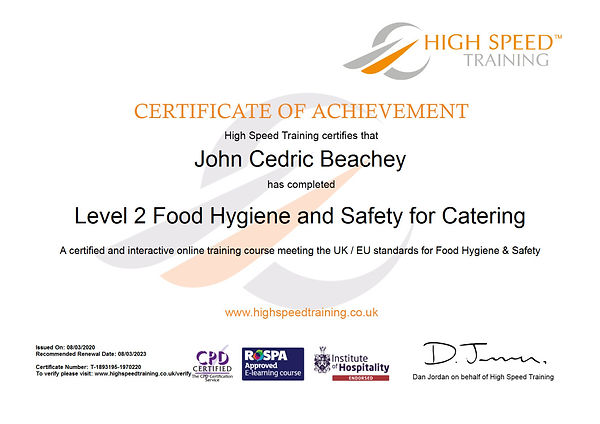 John Cedric Beachey-Level 2 Food Hygiene and Safety for Catering.JPG