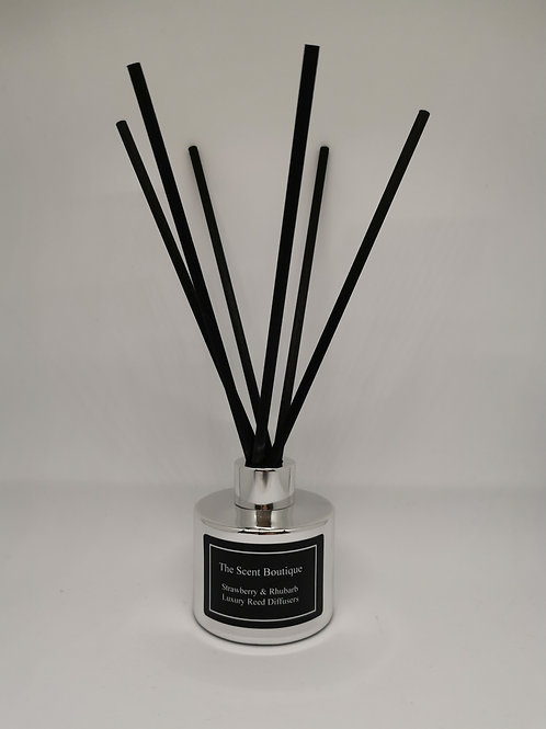 Silver Luxury Reed Diffuser with Silver cap and black reeds